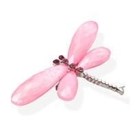 Брошь стрекоза розовая