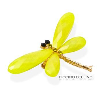 Брошь стрекоза большая желтая - фото 5499