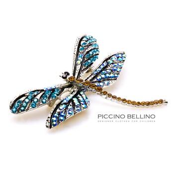 Брошь стрекоза голубая большая - фото 5500